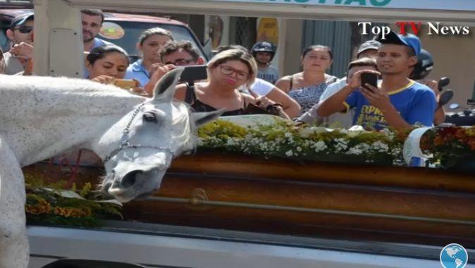 Caballo conmueve en funeral de su jinete
