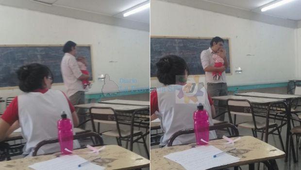 Un profesor de Caucete sostuvo en sus brazos a la bebé de su alumna para que pudiera rendir