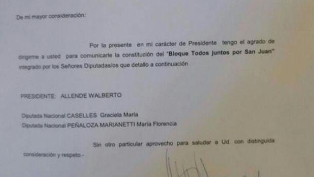 """Daniela Castro y José Luis Gioja, fuera del bloque """"Todos juntos por San Juan"""""""