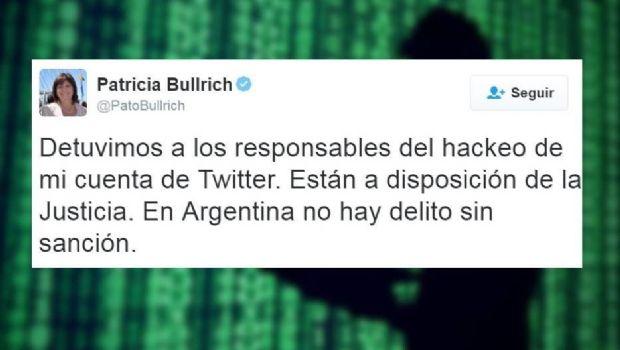 Detuvieron a los hackers que vulneraron la cuenta de Twitter de Patricia Bullrich